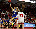 VERMILLION, SD - JANUARY 19: Tylee Irwin #21 of the South Dakota State Jackrabbits lays the ball up against the South Dakota Coyotes at the Sanford Coyote Center on January 19, 2020 in Vermillion, South Dakota. (Photo by Dave Eggen/Inertia)