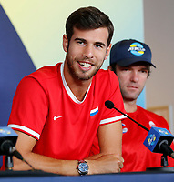 2nd January 2020; RAC Arena , Perth, Western Australia, Australia; ATP Cup Team Press conferences, Spain; Karen Khachanov of Russia speaks to the press  at the team press conferences - Editorial Use