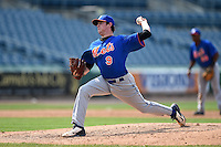 Hogan Harris (9) of St. Thomas More Catholic High School in Lafayette, Louisiana playing for the New York Mets scout team during the East Coast Pro Showcase on August 1, 2014 at NBT Bank Stadium in Syracuse, New York.  (Mike Janes/Four Seam Images)
