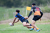 Jackson Orr dives over to score his second try of the game. Counties Manukau Premier Counties Power Club Rugby Round 2, Game of the Week, between Te Kauwhata and Onewhero, played at Te Kauwhata on Saturday March 17th 2018. <br /> Photo by Richard Spranger.<br /> <br /> Onewhero won the game 43 - 10 after leading 21 - 10 at halftime.<br /> Te Kauwhata EnviroWaste  10 - Lani Latu try,  Caleb Brown 1 conversion, Caleb Brown 1 penalty.<br /> Onewhero 43 - Jackson Orr 2, Ilaisa Koaneti 2, Vaughan Holdt, Zac Wootten, Rhain Strang tries, Vaughan Holdt 4 conversions.