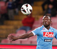 Naples' Sergio Armero loocks the ball during Italian Serie A soccer match against Genoa at the San Paolo  stadium in Naples April 7, 2013