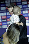 Atletico de Madrid's new player Santiago Arias with his son during his official presentation. August 13, 2018. (ALTERPHOTOS/Acero)