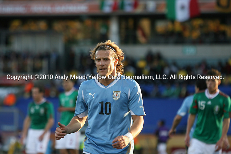 22 JUN 2010: Diego Forlan (URU). The Uruguay National Team defeated the Mexico National Team 1-0 at Royal Bafokeng Stadium in Rustenburg, South Africa in a 2010 FIFA World Cup Group A match.