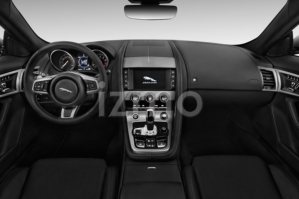 Stock photo of straight dashboard view of a 2018 Jaguar F-Type R Dynamic 2 Door Convertible
