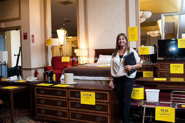 WATERBURY, CT- 27 May 2016-052716EC08-  There are hundreds of bedroom sets, exactly like this sample room shown here, that are on sale. Alison Kabealo, with Hotel Content Liquidators, says all of the contents of CoCo Key Water Resort Hotel and Convention Center in Waterbury will be liquidated. Erin Covey Republican-American