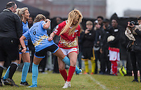 ELLIE YOUNG(IBIZA WEEKENDER) gets a hold of George Harrison (TOWIE) leg during the SOCCER SIX Celebrity Football Event at the Queen Elizabeth Olympic Park, London, England on 26 March 2016. Photo by Andy Rowland.