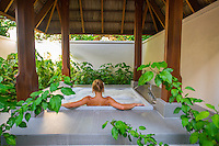 Maldives, Rangali Island. Conrad Hilton Resort. Bathroom at the beach villa. Outdoor bathtub.