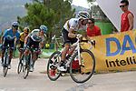World Champion Alejandro Valverde (ESP) Movistar Team leads White Jersey Miguel Angel Lopez Moreno (COL) Astana, Nairo Quintana (COL) Movistar and Primoz Roglic (SLO) Jumbo-Visma in the last km of Stage 7 of La Vuelta 2019 running 183.2km from Onda to Mas de la Costa, Spain. 30th August 2019.<br /> Picture: Colin Flockton | Cyclefile<br /> <br /> All photos usage must carry mandatory copyright credit (© Cyclefile | Colin Flockton)