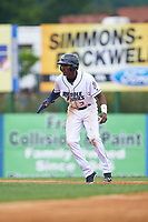 Binghamton Rumble Ponies center fielder Champ Stuart (2) leads off first base during a game against the Hartford Yard Goats on July 9, 2017 at NYSEG Stadium in Binghamton, New York.  Hartford defeated Binghamton 7-3.  (Mike Janes/Four Seam Images)