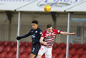 2nd February 2019, Hope CBD Stadium, Hamilton, Scotland; Ladbrokes Premiership football, Hamilton Academical versus Dundee; Nathan Ralph of Dundee competes in the air with Aaron McGowan of Hamilton Academical