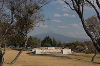 La Palma temple with the Malinche Volcano behind it. Sector A. Archeological site Tepeticpac, Tlaxcala, Mexico
