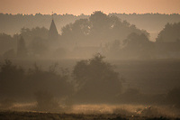 Europe/France/Normandie/Basse-Normandie/61/Orne/Env de la Mancelière/Montmureau : Lever de brume sur un village