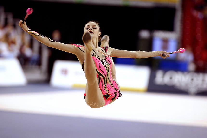 September 27, 2003; Budapest, Hungary; Rhythmic gymnastic star ANNA BESSONOVA of Ukraine wins Silver medal at 2003 World Championships.