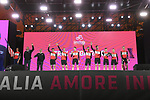 Trek-Segafredo on stage at the Teams Presentation held in Piazza Maggiore Bologna before the start of the 2019 Giro d'Italia, Bologna, Italy. 9th May 2019.<br /> Picture: Fabio Ferrari/LaPresse | Cyclefile<br /> <br /> All photos usage must carry mandatory copyright credit (&copy; Cyclefile | Fabio Ferrari/LaPresse)