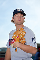 Scranton/Wilkes-Barre RailRiders pitcher Chance Adams (28) poses for a photo before a game against the Buffalo Bisons on May 18, 2018 at Coca-Cola Field in Buffalo, New York.  Buffalo defeated Scranton 5-1.  (Mike Janes/Four Seam Images)