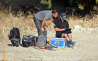 Pictured: Forensic archaeologists work at the second site in Kos, Greece. Tuesday 11 October 2016<br /> Re: Police teams led by South Yorkshire Police are searching for missing toddler Ben Needham on the Greek island of Kos.<br /> Ben, from Sheffield, was 21 months old when he disappeared on 24 July 1991 during a family holiday.<br /> Digging has begun at a new site after a fresh line of inquiry suggested he could have been crushed by a digger.