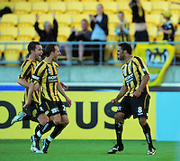 Phoenix' Tim Brown and Andrew Durante celebrate Paul Ifill's equaliser. A-League football - Wellington Phoenix v Melbourne Victory at Westpac Stadium, Wellington, New Zealand on Saturday, 27 November 2010. Photo: Dave Lintott / lintottphoto.co.nz