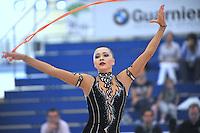 Anna Alyabyeva of Kazakhstan performs with rope during event finals  at 2010 Grand Prix Marbella at San Pedro Alcantara, Spain on May 16, 2010. Anna placed 6th AA at Marbella 2010. (Photo by Tom Theobald).