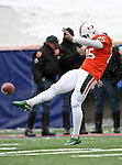 Miami Hurricanes kicker Matt Bosher (25) practices before the 2010 Hyundai Sun Bowl football game between the Notre Dame Fighting Irish and the Miami Hurricanes at the Sun Bowl Stadium in El Paso, Tx. Notre Dame defeats Miami 33 to 17...