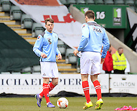 On loan Brighton defender Glen Rea warms up for Luton before the Sky Bet League 2 match between Plymouth Argyle and Luton Town at Home Park, Plymouth, England on 19 March 2016. Photo by Liam Smith.
