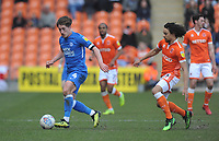 Peterborough United's Alex Woodyard under pressure from Blackpool's Nya Kirby<br /> <br /> Photographer Kevin Barnes/CameraSport<br /> <br /> The EFL Sky Bet League One - Blackpool v Peterborough United - Saturday 13th April 2019 - Bloomfield Road - Blackpool<br /> <br /> World Copyright &copy; 2019 CameraSport. All rights reserved. 43 Linden Ave. Countesthorpe. Leicester. England. LE8 5PG - Tel: +44 (0) 116 277 4147 - admin@camerasport.com - www.camerasport.com