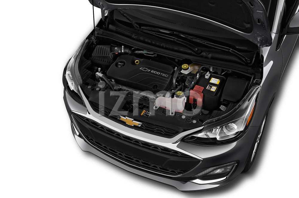 Car stock 2019 Chevrolet Spark 1LT 5 Door Hatchback engine high angle detail view
