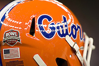 01 January 2010:  A picture of Gators' helmet is pictured during warm-ups before the game against Cincinnati during Sugar Bowl at the SuperDome in New Orleans, Louisiana.