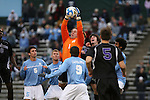 06 December 2008: North Carolina's Brooks Haggerty (1) grabs the ball in traffic. The University of North Carolina Tar Heels defeated the Northwestern University Wildcats 1-0 at Fetzer Field in Chapel Hill, North Carolina in a NCAA Division I Men's Soccer tournament quarterfinal game.