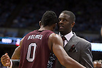 14 November 2014: NCCU head coach LeVelle Moton and Dante Holmes (0). The University of North Carolina Tar Heels played the North Carolina Central University Eagles in an NCAA Division I Men's basketball game at the Dean E. Smith Center in Chapel Hill, North Carolina. UNC won the game 76-60.
