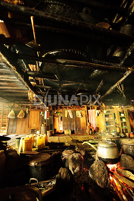 Kitchen, inside traditional home, Wae Rebo, Flores.