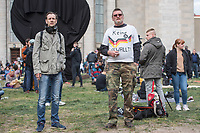 """Auf und rund um den Rosa-Luxemburg-Platz in Berlin-Mitte haben am Samstag den 25. April 2020 mehrere hundert Menschen gegen die Einschraenkungen im Zuge der Massnahmen zur Eindaeemung der Covid-19-Pandemie protestiert. Rechtsextremisten, Hooligans, Antisemiten, Verschwoerungstheoretiker und AfD-Politiker hatten zu einer sogenannten """"Hygiene-Demo"""" versammelt. Vereinzelt protestierten Menschen am Rande gegen diese Demonstration.<br /> Die Polizei war mit mehreren hundert Beamten im Einsatz und nahm mehr als 100 Personen fest.<br /> 25.4.2020, Berlin<br /> Copyright: Christian-Ditsch.de<br /> [NUR FUER REDAKTIONELLE ZWECKE! Werbung nur auf Anfrage beim Fotografen. Inhaltsveraendernde Manipulation des Fotos nur nach ausdruecklicher Genehmigung des Fotografen. Vereinbarungen ueber Abtretung von Persoenlichkeitsrechten/Model Release der abgebildeten Person/Personen liegen nicht vor. NO MODEL RELEASE! Don't publish without copyright Christian-Ditsch.de, Veroeffentlichung nur mit Fotografennennung, sowie gegen Honorar, MwSt. und Beleg. Konto: I N G - D i B a, IBAN DE58500105175400192269, BIC INGDDEFFXXX, Kontakt: post@christian-ditsch.de<br /> Bei der Bearbeitung der Dateiinformationen darf die Urheberkennzeichnung in den EXIF- und  IPTC-Daten nicht entfernt werden, diese sind in digitalen Medien nach §95c UrhG rechtlich geschuetzt. Der Urhebervermerk wird gemaess §13 UrhG verlangt.]"""
