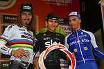 Michal Kwaitkowski (POL) Team Sky wins the 108th edition of Milan-San Remo 2017 by NamedSport, with World Champion Peter Sagan (SVK) Bora-Hansgrohe in 2nd place and Julian Alaphilippe (FRA) Quick-Step Floors 3rd, running 291km from Milan to San Remo, Italy. 18th March 2017.<br /> Picture: La Presse/Simone Ferraro | Cyclefile<br /> <br /> <br /> All photos usage must carry mandatory copyright credit (&copy; Cyclefile | La Presse)