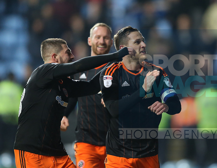 Billy Sharp of Sheffield Utd celebrates the first goal during the English League One match at the Rioch Arena Stadium, Coventry. Picture date: December 15th, 2016. Pic Simon Bellis/Sportimage