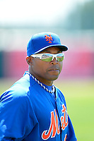New York Mets outfielder Marlon Byrd #6 before a Spring Training game against the Baltimore Orioles at Ed Smith Stadium on March 30, 2013 in Sarasota, Florida.  (Mike Janes/Four Seam Images)