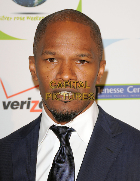 JAMIE FOXX .at the Jenesse 30th Anniversary Silver Rose Gala & Auction held at The Beverly Hills Hotel in Beverly Hills, California, USA, April 18th 2010.                                                                   portrait headshot  blue navy black tie white shirt goatee beard facial hair soul patch mouth open.CAP/RKE/DVS.©DVS/RockinExposures/Capital Pictures.