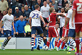 09/08/2015 Sky Bet League Championship Preston North End v Middlesbrough <br /> Adam Clayton gets to grips with Daniel Johnson
