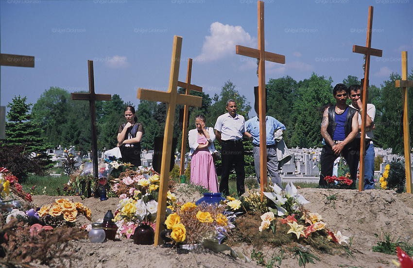 Christian Roma attending a funeral. Tarnow, Poland 2002