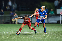 Boston, MA - Sunday September 10, 2017: Hayley Raso, Megan Oyster during a regular season National Women's Soccer League (NWSL) match between the Boston Breakers and Portland Thorns FC at Jordan Field.