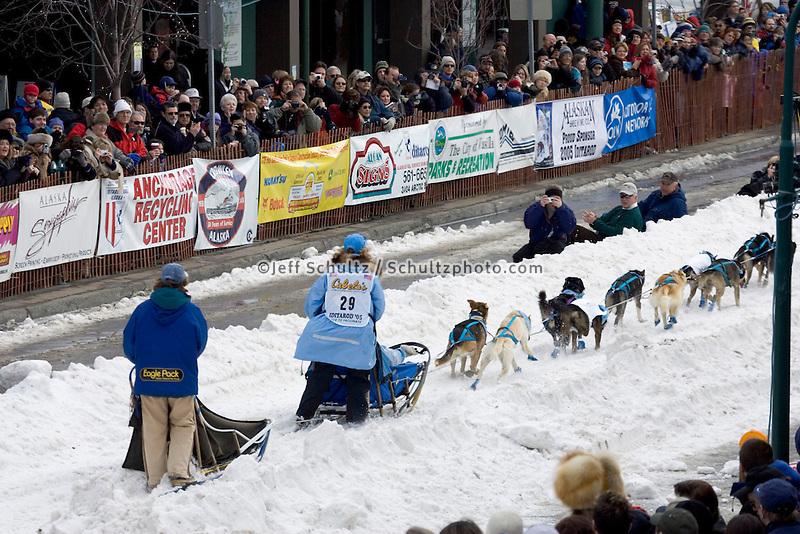 Dee Dee Jonrowe Leaves Ceremonial Start Iditarod 2005 Anchorage AK