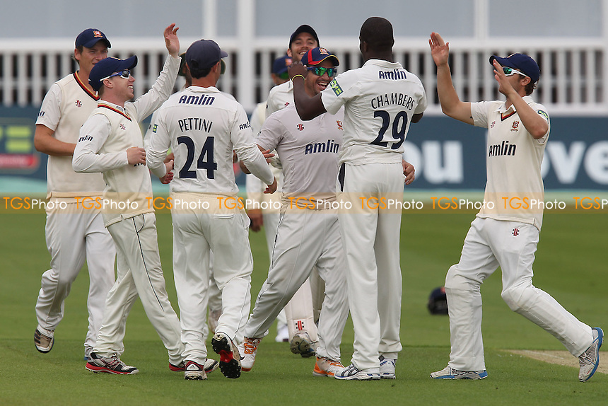 Maurice Chambers of Essex celebrates the wicket of Rob Key with his team mates - Kent CCC vs Essex CCC - LV County Championship Division Two Cricket at the St Lawrence Ground, Canterbury, Kent - 08/08/12 - MANDATORY CREDIT: Gavin Ellis/TGSPHOTO - Self billing applies where appropriate - 0845 094 6026 - contact@tgsphoto.co.uk - NO UNPAID USE.