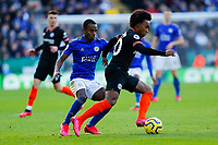 1st February 2020; King Power Stadium, Leicester, Midlands, England; English Premier League Football, Leicester City versus Chelsea; Willian  of Chelsea under pressure from Ricardo Pereira of Leicester City
