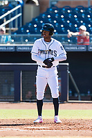 Peoria Javelinas right fielder Buddy Reed (85), of the San Diego Padres organization, at bat during an Arizona Fall League game against the Scottsdale Scorpions at Peoria Sports Complex on October 18, 2018 in Peoria, Arizona. Scottsdale defeated Peoria 8-0. (Zachary Lucy/Four Seam Images)