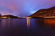 Echo Lake in Franconia Notch State Park of the New Hampshire White Mountains on an autumn night.