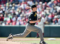NWA Democrat-Gazette/CHARLIE KAIJO University of Missouri Tyler LaPlante (12) throw a pitch during a baseball game, Sunday, March 17, 2019 at Baum-Walker Stadium in Fayetteville.