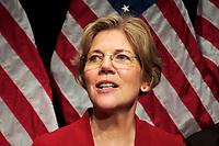 Elizabeth Warren is sworn in as Senator from Massacusetts by Supreme Court Justice Elena Kagan witnessed by Senator John Kerry at Roxbury Community College January 5, 2013