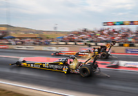 Jul 20, 2018; Morrison, CO, USA; NHRA top fuel driver Leah Pritchett during qualifying for the Mile High Nationals at Bandimere Speedway. Mandatory Credit: Mark J. Rebilas-USA TODAY Sports