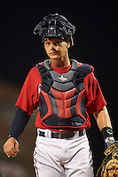 Mississippi Braves catcher Matt Kennelly (14) during a game against the Pensacola Blue Wahoos on May 28, 2015 at Trustmark Park in Pearl, Mississippi.  Mississippi defeated Pensacola 4-2.  (Mike Janes/Four Seam Images)