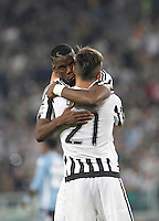 Calcio, Serie A: Juventus vs Lazio. Torino, Juventus Stadium, 20 aprile 2016.<br /> Juventus&rsquo; Paulo Dybala, right, celebrates with teammate Paul Pogba after scoring his second goal during the Italian Serie A football match between Juventus and Lazio at Turin's Juventus Stadium, 20 April 2016.<br /> UPDATE IMAGES PRESS/Isabella Bonotto