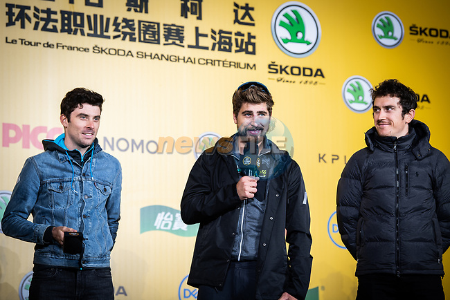Pierre Roger Latour (FRA) AG2R La Mondiale, Peter Sagan (SVK) Bora-Hansgrohe and Tour de France Champion Geraint Thomas (WAL) Team Sky on stage at the media day before the 2018 Shanghai Criterium, Shanghai, China. 16th November 2018.<br /> Picture: ASO/Pauline Ballet | Cyclefile<br /> <br /> <br /> All photos usage must carry mandatory copyright credit (© Cyclefile | ASO/Pauline Ballet)