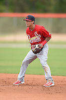 St. Louis Cardinals second baseman Richard Pedroza (19) during a minor league spring training game against the New York Mets on March 27, 2014 at the Port St. Lucie Training Complex in St. Lucie, Florida.  (Mike Janes/Four Seam Images)